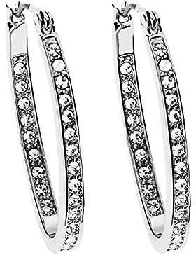MYA art Damen Creolen Ovale Ohrringe Hängend Swarovski Elements Strass Kristall Steinchen Silber Edelstahl Vergoldet...