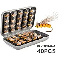Pesca con Mosca, RoseFlower Premium Cebos Artificiales de Pesca Moscas Secas Cebo de Pesca Señuelos de Pesca - Dry Fly Fishing Lure para Pesca de Trucha y Trucha Alpina, con Caja Impermeable