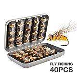 JasCherry Kunstköder Angel-Köder - Insekten Fischköder Soft-Köder-Fischerei-Gerät Köderhaken (40 Stück/Gelb Fliegen)