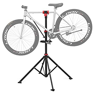 SONGMICS Pro Mechanic Bike Repair Stand with Tool Tray Telescopic Bicycle Maintenance Rack Workstand Lightweight and Portable SBR02B from SONGMICS