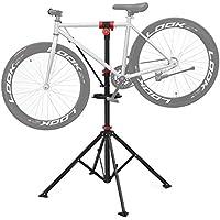 SONGMICS Soporte para reparación de bicicleta Caballete para bicicleta Bandeja de herramientas Altura ajustable entre 108 y 188 cm Soporte con 4 patas plegable Plataforma de reparación extensible Pinza giratoria a 360º Ligero y portátil SBR02B