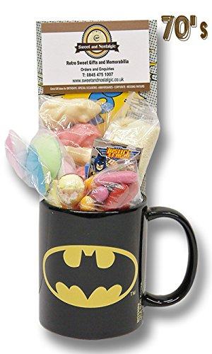 Batman Logo Mug with a KAPOW! selection of 1970's Retro Sweets