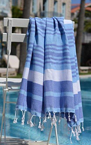 ZusenZomer Hamamtuch MELODI 100x170 Blau Weiß - Hamam Handtuch Badetuch Strandtuch 100% Baumwolle Handgewebt - auch für Herren - Exclusives Design Hammam - Weiße Türkische Handtücher