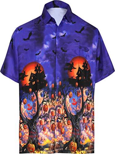 HAPPY BAY Hawaiihemd Pumkin Scary Grusel Ghosts Festliche Männer-Taste gedrückt Lager Shirt Kurzarm Kragen Fronttasche Halloween Kostüm unheimlich Geist Kürbis Shirt für Männer Königsblau_AA238 XL (2019 Männer Für Halloween-kostüme Top)