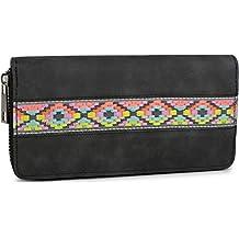 a2e920e465 styleBREAKER portamonete morbido con ricamo etnico a zigzag, cerniera a  giro, portafoglio, da