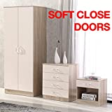 Gladini High Gloss 3 Piece Bedroom Furniture Set - Includes Wardrobe, 4 Drawer Chest, Bedside Cabinet (Cream/Oak)