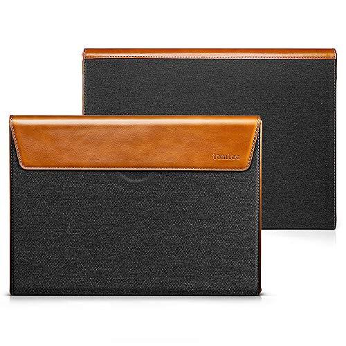 tomtoc Premium Box Laptop Hülle Tasche kompatibel mit 15 Zoll Neu MacBook Pro Touch Bar Ende 2016-2019 A1990 A1707, spritzwasserabweisend PU Leder Kompakt Case -
