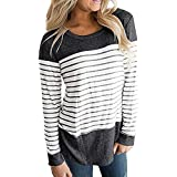Save 50%~YANG YI Clearance Offer !!! Women's Casual Striped Round Neck Long Sleeves Color Block Tshirts/T-Shirts Tops