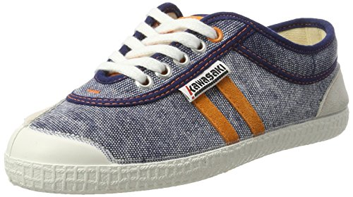 Kawasaki - Retro Stitch, Scarpe basse Unisex – Adulto Blau (Navy with Stripes)
