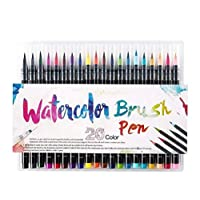 Sausiry 20 Pieces Color Brush Pens Set Watercolor Brush Pen Color Markers for Painting Cartoon Sketch Calligraphy Drawing Manga Brush