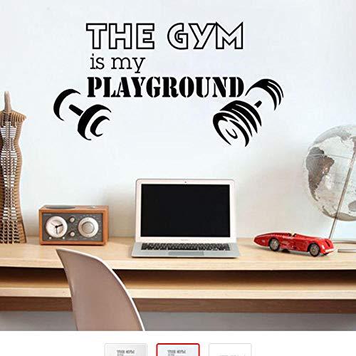 Vinyl Die Turnhalle Ist Mein Spielplatz Zitat Wandaufkleber Sport Gym Fitness Kunst Wandtattoo Hantel Wandbild Für Wohnkultur 59 * 112 cm