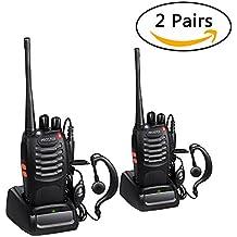 Walkie Talkie Recargable 16 Canales UHF 400-470MHz CTCSS DCS Talkie walkie con el Auricular Incorporado Antorcha de LED y Cargador USB (2 Pares)