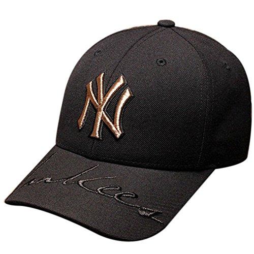 Belsen Unisex Hip-Hop Golden Briefe Stickerei Baseball Cap Trucker Hat (Schwarz)