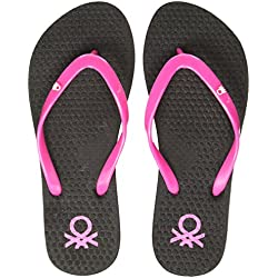 United Colors of Benetton Women's Black Flip-Flops - 7 UK/India (41 EU)