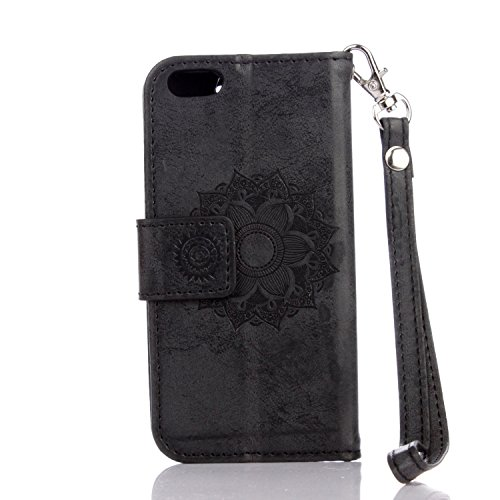 Für IPhone 5 & 5s & SE Fall, Mandala Blume geprägtes Muster Schutzhülle Premium PU Leder Folio Flip Stand Brieftasche Case Pouch mit Lanyard & Halter & Card Cash Slots ( Color : Gold ) Black