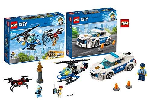 LEGO 60207 City Polizei Drohnenjagd, bunt 60239 City Streifenwagen, bunt (Polizei-statue)