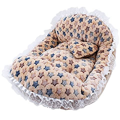 WenL Pet Sofa Spitze Kennel Cat Prinzessin Bett-Haustier,Brown