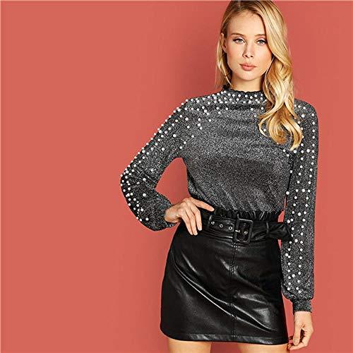 JJHRPullover Sweatshirts Dame Pearl Beading Bishop Sleeve Glitter Auf Frauen Autumn Plain Minimalist Sweatshirts, S -