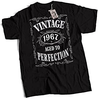 bybulldog® Vintage 1967 Aged To Perfection 50th Birthday Present Gift Mens Premium Black Small