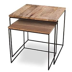 beistelltisch 2er set mango cubes design tische 44x44cm k che haushalt. Black Bedroom Furniture Sets. Home Design Ideas