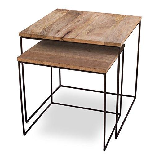 Beistelltisch 2er Set Mango Cubes – Design-Tische 44x44cm