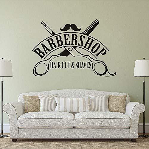 Wandsticker 3D Friseur Schaufenster Vinyl Haare schneiden und rasieren Logo Decals Friseursalon Dekor Schere Design Interieur 83 * 57cm Cafe Küche Dekor