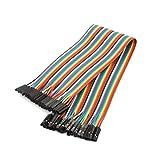 sourcingmap® Cables Puente Kit de cables planos 30cm multicolor de 40pin F/F Tablero de circuitos