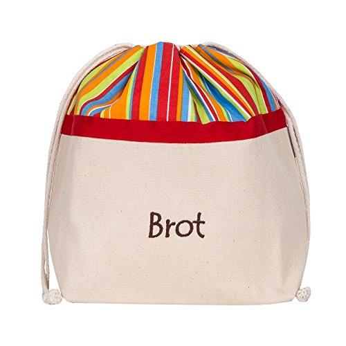 Brottasche aus Baumwolle, 3 in 1, fürs Frischhalten+Servieren+Einkaufen, atmungsaktiv und dekorativ, Modell Sonnig, 32 x 35 cm