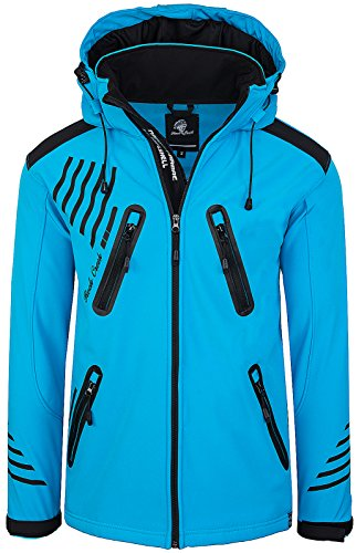 Rock Creek Herren Softshell Jacke Outdoorjacke Windbreaker Übergangs Jacke H-140 [Blue S] - 2