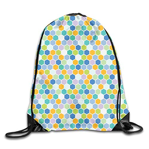 Drawstring Backpack Bags Spring Hexagon Green Periwinkle Purple Lavender Tangerine Teal Grass Dots Spots Sport Athletic Gym Sackpack for Men Women (Teal Womens Tennis-schuhe)