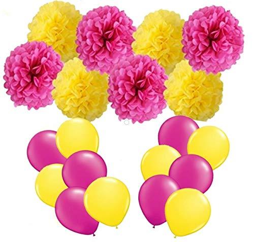 FLGood - Sommerparty Deko - Papier Pompons Dekoration für Geburtstag-Hawaii-Grill-Garten-Balkon-Party -