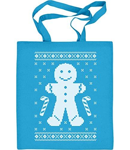 Lebkuchenmann Pfefferkuchen Lustiges Weihnachtsgeschenk Jutebeutel Baumwolltasche Hellblau