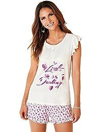 VENCA Pijama camiseta con tapeta frontal de botones y volante fruncido en la sisa by…