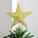 Weihnachtsbaumspitze Stern Weihnachtsbaum Stern Ornament Eisen Craft Glitzer Pulver Dekoration für Weihnachten Home Decor und Party Supplies 25 cm gold