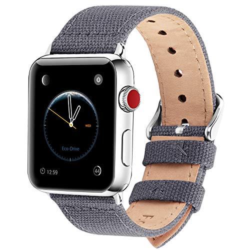 Fullmosa Kompatibel Apple Watch Armband 42mm 44mm in 8 Farben, Armband Stoff Leinen Style für iWatch Armband (44mm) Series 4 Series 3 2 1 (42mm), Nordisches Grau 42mm/44mm -