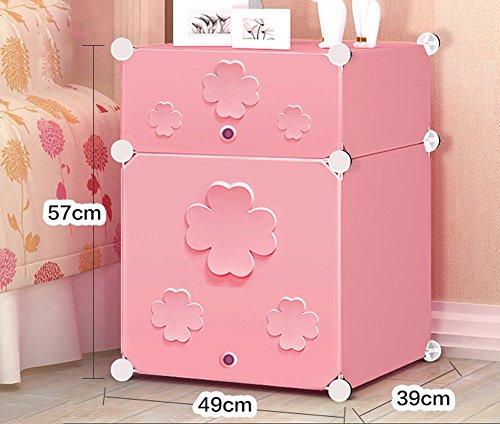 Flashing-DIY Simple en résine en plastique Mini-chevet des enfants Cabinet, Simple moderne armoire de rangement, petit placard armoires avec portes (taille : 49 * 39 * 57cm)