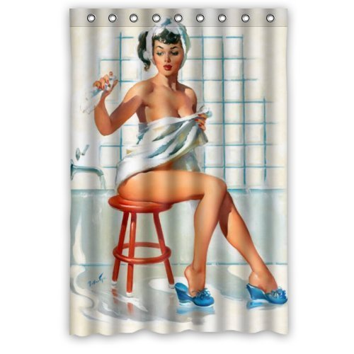 Sexy Bathroom Art Shower Curtain Pretty Girl Bathing - Vintage Retro Pin Up Girls Body Art Work Canvas Painting Style Waterproof Polyester Fabric 48(w)x72(h) Rings Included