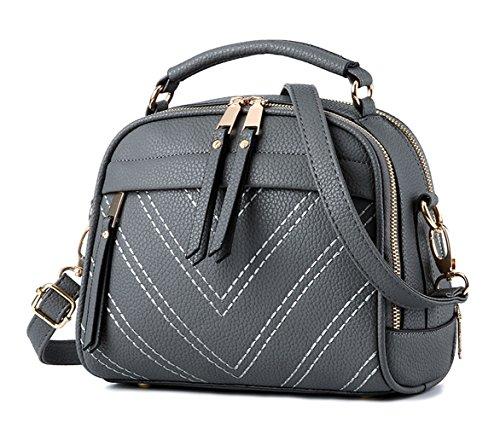 Keshi Pu Cool Damen Handtaschen, Hobo-Bags, Schultertaschen, Beutel, Beuteltaschen, Trend-Bags, Velours, Veloursleder, Wildleder, Tasche Deep Grau