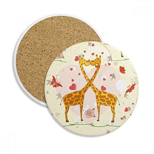 DIYthinker Gelb Kissing Giraffen Valentinstag Stein Getränk Keramik-Untersetzer für Becher-Schalen-Geschenk 2pcs Mehrfarbig
