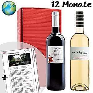"""ROTWEIN & WEISSWEIN GESCHENK """"Wein Abonnement"""" mit 12 Monaten Laufzeit (12 Monatspakete a 2 Flaschen) INKL Geschenkkarte. Leckerer Qualitätswein der Welt im Weinabo und monatlich wechselnden Weinländern. Die besten Weinsorten der Welt in monatlichen Geschenk Paketen. Das Abo hat eine feste Laufzeit, keine Verlängerung!"""