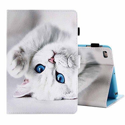 Billionn iPad Mini 4 / Mini 3 / Mini 2 / Mini Hülle Ultra Schlank Dünn Niedlich Muster PU Leder Flip Brieftasche Ständer Clever Schutzhülle [Auto Schlaf/Wach] for Apple iPad Mini 1/2/3/4,Weiße Katze