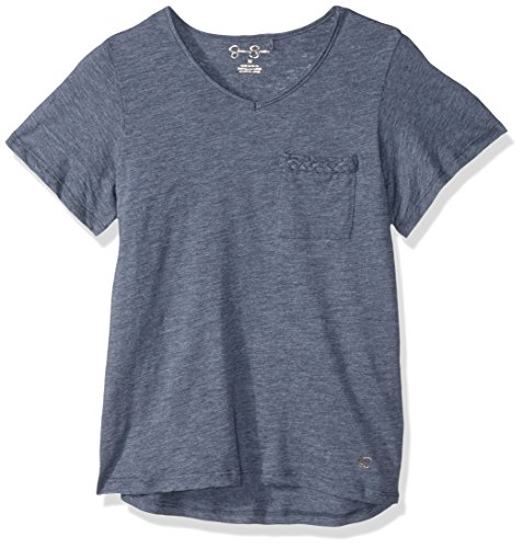 Jessica Simpson Girls' Big Basic V Neck T-Shirt, Heather Blue 12 -