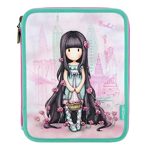 Gorjuss cityscape rosebud double filled pencil case