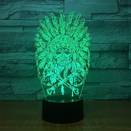 wangZJ 3D visuelle Illusion Lampe / 7 Farbwechsel Dekor Lampe/Illusion Lampe/neben Tischlampe/Kinder perfekte Geschenke/Indian Chief Skull - Indian Für Mädchen Hut