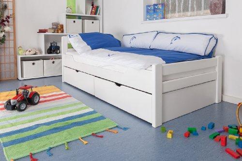 """Kinderbett/Jugendbett""""Easy Premium Line"""" K1/2n inkl. 2 Schubladen und 2 Abdeckblenden, 90 x 200 cm Buche Vollholz massiv weiß lackiert"""