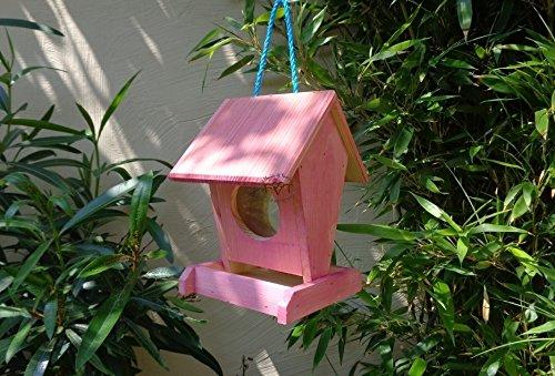 Vogelfutterstation-BTV-X-VOFU1K-pink002 XXL PREMIUM Vogelhaus Vogelfutterhaus Rot lachsrot behandelt pink rosarot Nistkasten für Nützlinge im Garten Marienkäfer, als Ergänzung zum Meisen Nistkasten Meisenkasten oder zum Insektenhotel, Futterstation für Vögel, Vogelhäuschen / Vogelvilla zum Hängen und Aufstellen von BTV - 2