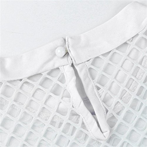 LHWY Damen Hollow out Solid lange Ärmel Netto Tops Bluse Weiß