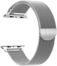 SKEIDO Milanese Loop for Apple Watch 44mm 42mm, Stainless Steel Alloy Replacement Watch Band for iWatch Series