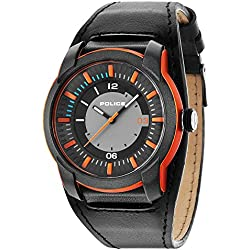 Police Men's Quartz Watch with Grey Dial Analogue Display and Black Leather Strap 14438JPOB/13