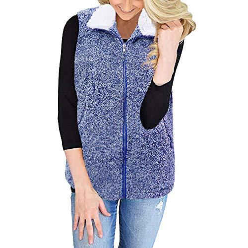 WWricotta Womens Vest Winter Warm Outwear Casual Faux Fur Zip Up Sherpa Jacket -